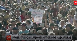8-16-20 Madrid Spain Protests against Government Lockdown Restrictions Covid-19 Coronavirus Pandemic