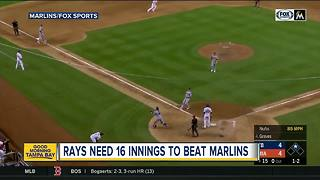 Bauers helps Rays beat Marlins 9-6 in 16 innings - Video
