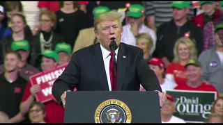 President Trump shouts out local Republicans at rally in Council Bluffs