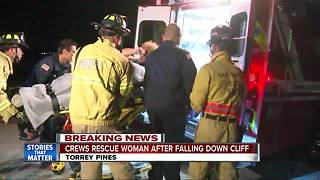 Crews rescue woman after falling down cliff in Torrey Pines
