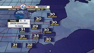 Rain and snow tonight, clearing Tuesday