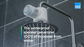 This waterproof speaker generates 100% of its power from water