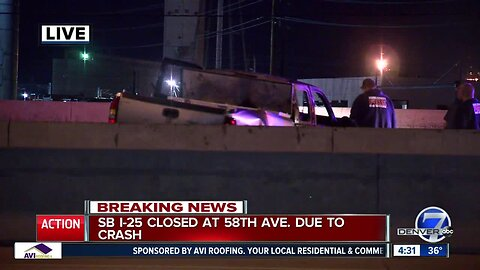 Fiery crash closes southbound I-25 at 58th Avenue, one person dead
