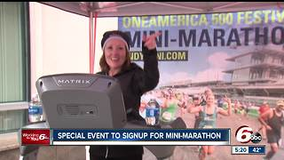 Mini-Marathon giveaways, signups hosted on Monument Circle - Video