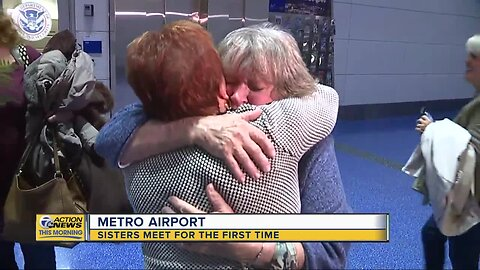 Sisters meet for the first time at Detroit Metro Airport