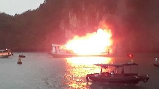 Cruise Ship Catches Fire in Tourist Hotspot Halong Bay - Video