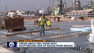 Crews about 80 percent done with southbound Rouge River bridge - Video
