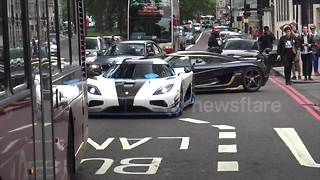 Supercars arrive on London's streets - Video