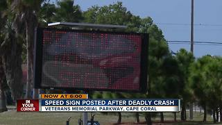Speed Sign Posted After Deadly Crash - Video