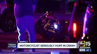 Motorcyclist seriously hurt in crash - Video