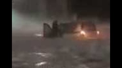 Car's Occupants Trapped During Major Hailstorm in Rome