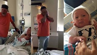 Adorable moment grandpa finds out newest grandchild is a boy after several generations of only girls - Video