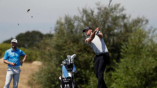Steph Curry Hooks TERRIBLE Tee Shot into Golf Cart Cup Holder - Video