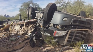 Tractor trailer rollover slowing traffic in Pinal County - Video