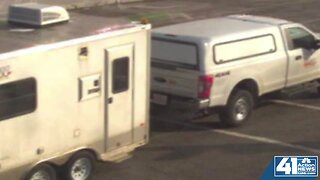 Telecommunications truck, trailer stolen with workers inside