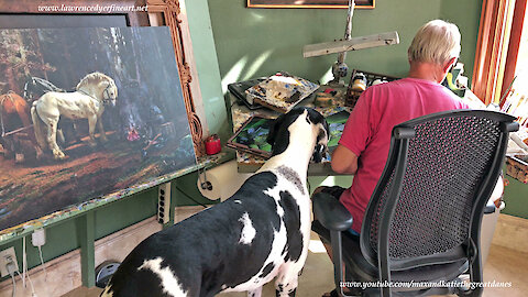 Great Dane Watches Artist Lawrence Dyer Paint a Frog Race Award