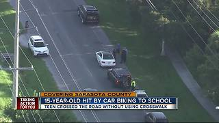 Teen hit by car while biking to school in Sarasota County - Video