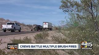 Crews battle human-caused brush fire near Sunflower - Video
