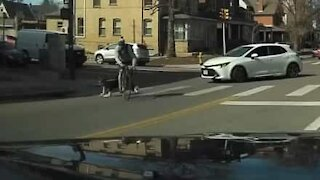 Cyclist smashes into hesitating pedestrian