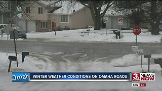 Winter weather conditions on Omaha roads