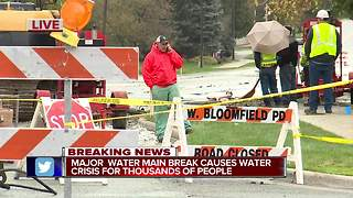 Major water main break causing water crisis for thousands of people - Video