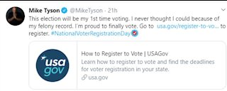 Mike Tyson tweets about being allowed to vote for first time
