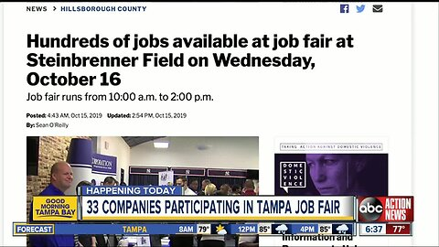 Hundreds of jobs available at huge Tampa job fair on Wednesday