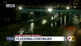 Mehring Way, Cincinnati's riverfront parks underwater due to Ohio River flooding