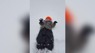 Little Boy Fails At Making A Snow Angel