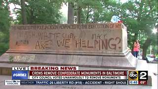 Confederate monuments removed overnight in Baltimore - Video