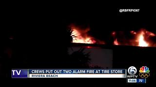 Warehouse damaged by large fire in Riviera Beach - Video