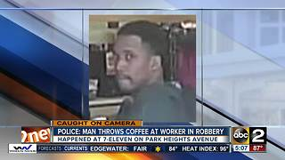 Suspect wanted for throwing hot coffee during convenience store robbery - Video