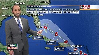 Tropical storm watch issued for Puerto Rico as Dorian moves W-NW, may become hurricane Tuesday