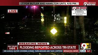 Heavy rain closes roads across Greater Cincinnati - Video