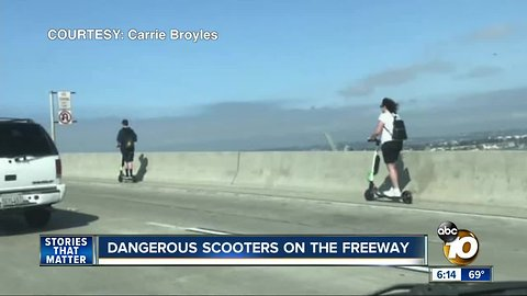 Dangerous scooters on the freeway