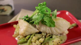 Fish Poblano with Watercress and Green Beans