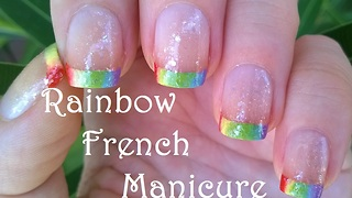 Rainbow French Manicure Tutorial