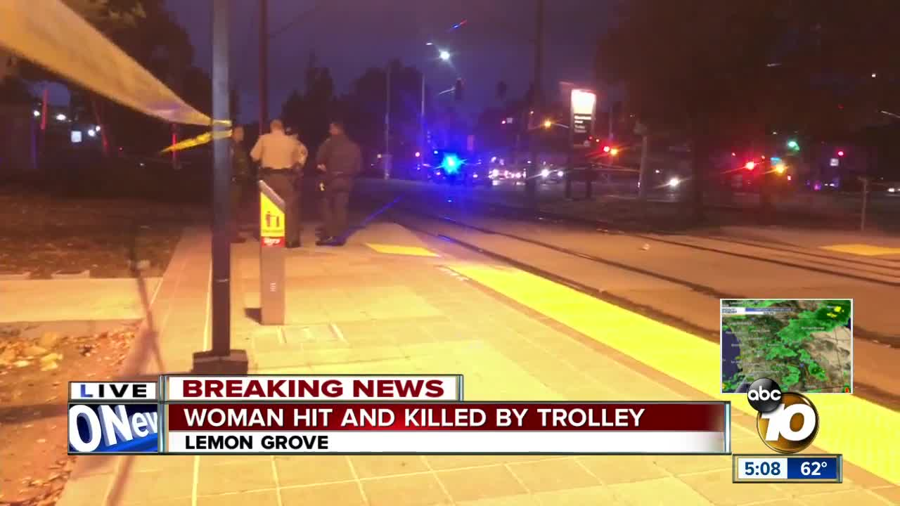 Woman hit and killed by trolley