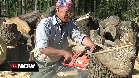 Wood artists at work on Millersport Highway in East Amherst