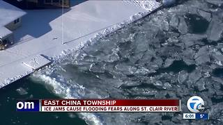 East China Township facing flood warning after ice blockage on St. Clair River - Video