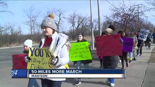 Students walk 50 Miles More to Madison to raise awareness - Video