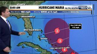 8 a.m. update: Hurricane Maria still a Category 5 storm - Video