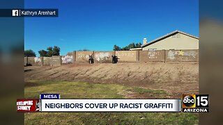 Community comes together to cover up racist graffiti in Mesa neighborhood