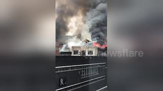 Huge fire breaks out in Glasgow city centre - Video