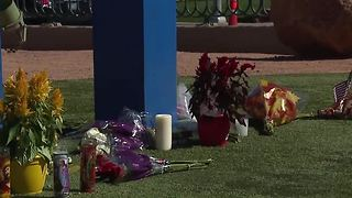 Flowers gathered at Welcome to Fabulous Las Vegas sign - Video