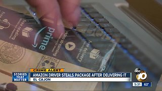 Amazon driver steals package after delivery