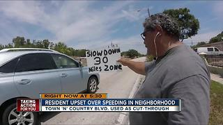 Residents upset over speeding in Tampa neighborhood