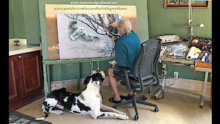 Great Dane Watches Artist Paint Snowy Owl