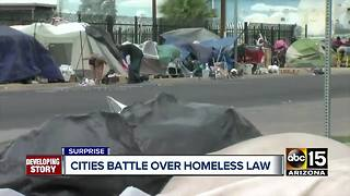 Phoenix and Surprise battle over homeless laws - Video
