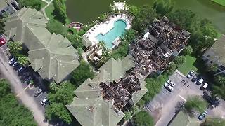 Drone video shows damage over Riverview complex possibly struck by lightning - Video